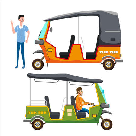 Set Tuk Tuk Asian auto rickshaw three wheeler tricycles with local driver. Thailand, Indian countries baby taxi. Vector illustration isolated cartoon style