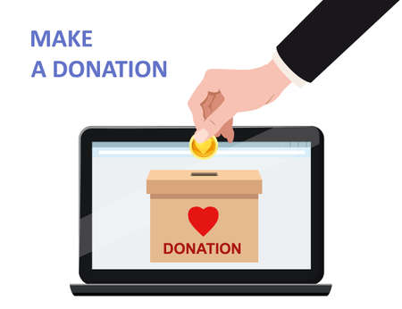 Donate online payments. Hand insert money gold coin in to the donation box on a laptop PC display. Charity fundraising concept. Vector illustration isolated
