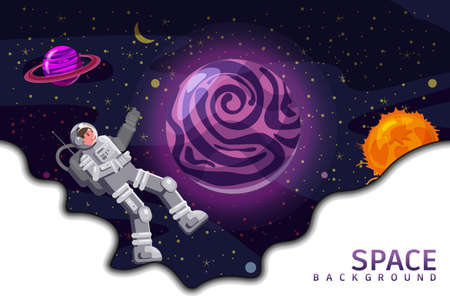 Space background card with spaceman, black hole, planets, stars. Austronaut panoramic space template. Banner, vector, isolated cartoon flat style