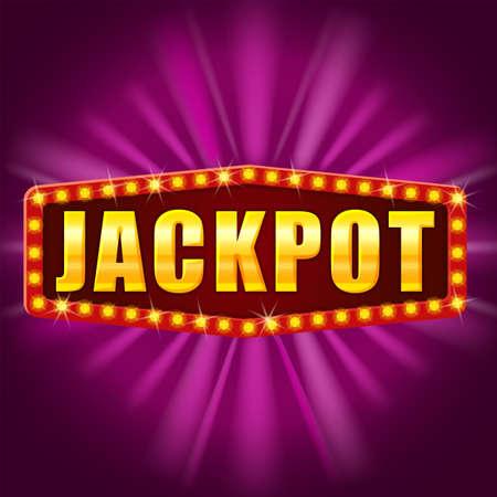 Jackpot Winner banner shining retro sign illuminated by spotlights vector  イラスト・ベクター素材