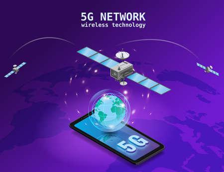Global 5G internet network satellite communication. Satellites flying orbital upon Earth wireless technology smartphone isometryc. Vector isolated illustration