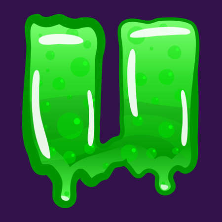 Slime font type letter U latin alphabet. Green bubbling toxic mold. Vector cartoon style illustration  イラスト・ベクター素材