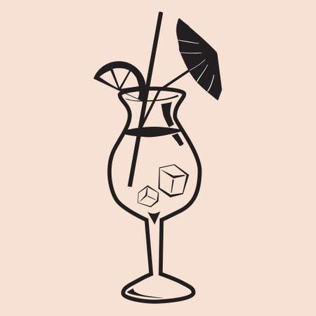 Cockail Sex On The Beach tropical summer alcoholic drink beverage. Vector icon isolated doodle linear style illustration  イラスト・ベクター素材