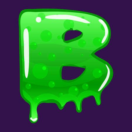 Slime font type letter B latin alphabet. Green bubbling toxic mold. Vector cartoon style illustration