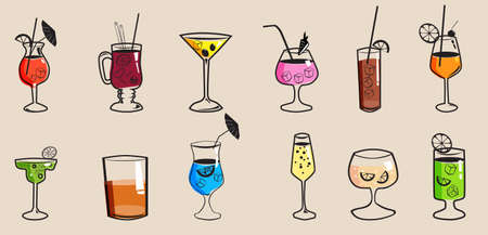 Set cockails tropical summer alcoholic drinks beverages. Mojito, Margarita, Pina Colada, Sex on the Beach, Daiquiri. Vector icons isolated cartoon style illustration