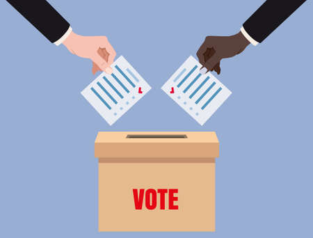Hands putting voting blancs papers in vote box, ballot campaign. Vector isolated illustration  イラスト・ベクター素材