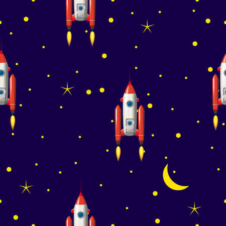 Seamless Rocket pattern, stars and space. Vector illustration ispalted cartoon style