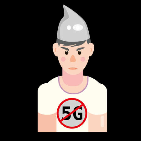 Character in foil hat. Conspiracy conspiracy theory, mental disorders. Vector isolated illustration