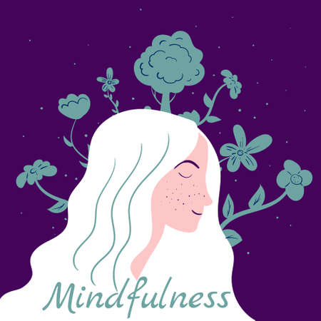 Mindfullness meditation woman meditate. Mental calmness and self consciousness flora concept. Vector illustration isolated