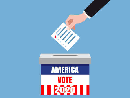 The US presidential election 2020. Hand putting voting blancs papers in vote box, ballot campaign. Vector isolated illustration
