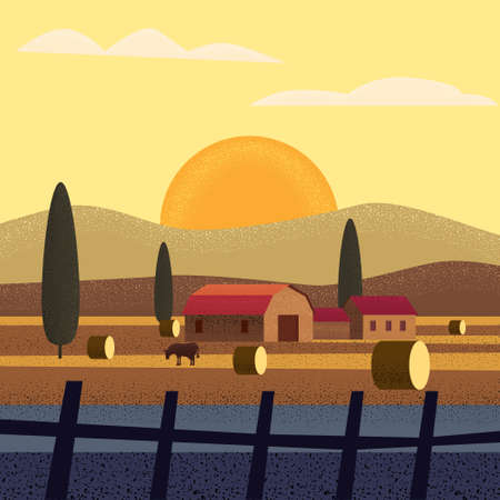 Rural farm landscape field country house, cows. Summer hills sunset farmland. Vector illustration trendy style noise shadow vector 写真素材