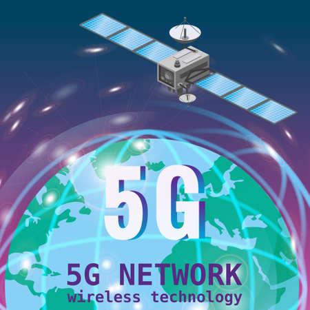 Global 5G internet network satellite communication. Satellite flying orbital upon Earth wireless technology smartphone isometryc. Vector isolated illustration