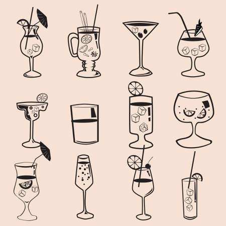 Set cockails tropical summer alcoholic drinks beverages. Mojito,  Margarita, Pina Colada, Sex on the Beach, Daiquiri. Vector icons isolated doodle linear style illustration
