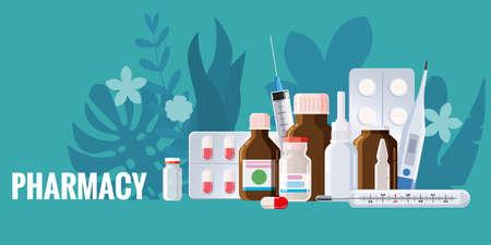 Pharmacy template frame with blister, spray, thermometer, jars, pills drugs medical bottles