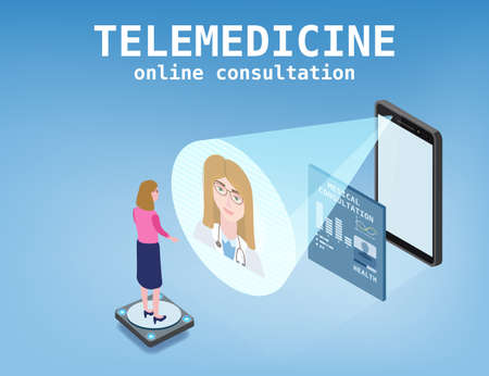 Telemedicine smartphone concept characters doctor and patient consultation diagnosis by internet. Online doctor service isometry. Vector illustration isolated  イラスト・ベクター素材