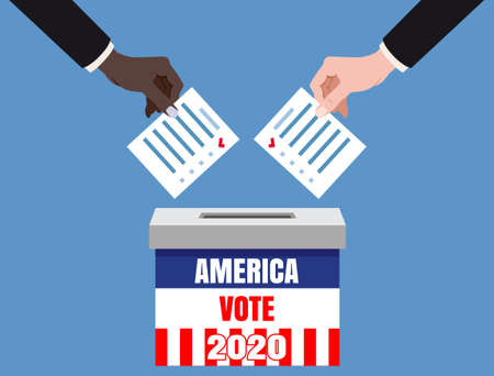 The US presidential election 2020. Hands putting voting blancs papers in vote box, ballot campaign. Vector isolated illustration