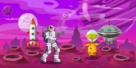 Astronaut exploring alien planet rocket. Contact with a alien UFO. Cosmonaut scientific traveler character on a rocky surface in far galaxy. Cartoon flat style vector illustration banner