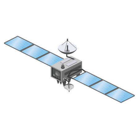 Satellite artificial communication wireless technology GPS . Spacecraft with solar panels. Vector illustration isolated