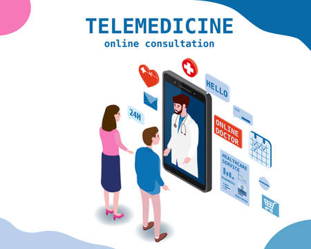 Telemedicine smartphone concept characters family doctor and patients wife and husband consultation diagnosis by internet. Online doctor service. Isometry icons, vector illustration isolated Vectores