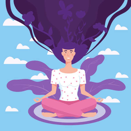 Mental health yoga meditation woman sit in the lotus position meditate. Mental calmness and self consciousness concept. Vector illustration isolated