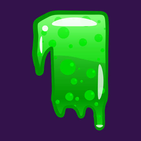 Slime font type number 1 latin alphabet. Green bubbling toxic mold. Vector cartoon style illustration  イラスト・ベクター素材