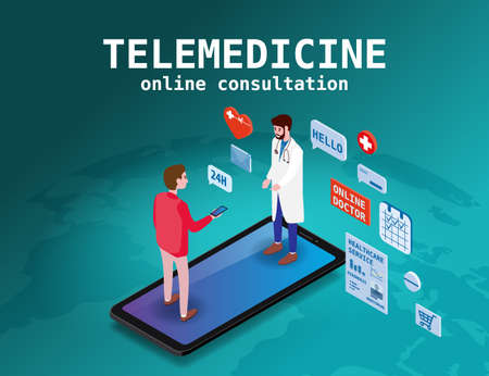Telemedicine smartphone concept characters doctor and patient consultation diagnosis by internet. Online doctor service. Isometry icons map Earth, vector illustration isolated