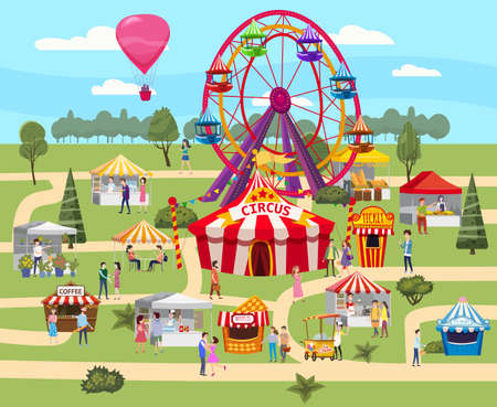 Amusement park outdoor festival Curcus tent Ferris Wheel Tents Canopy fast food and drinks. Visitors men and women spend their leisure time. Vector illustration isolated 向量圖像