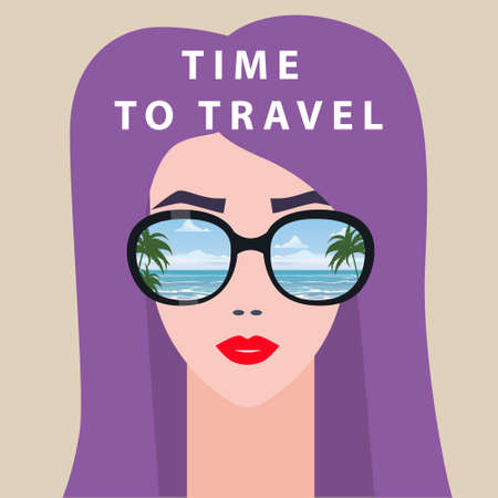 Portrait fashion woman with sunglasses. Time to Travel poster summer holiday vacation. Vector isolated