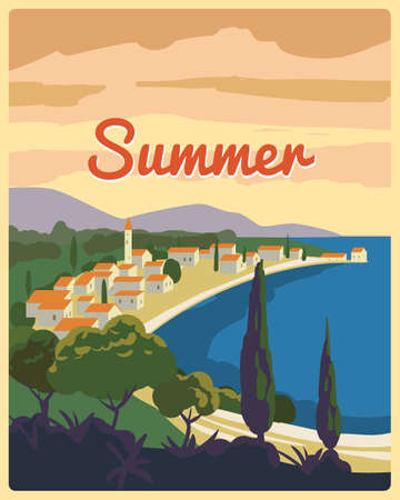 Travel poster retro old city Mediterranean sea vacation Europe. Holiday summer voyage seaside sunset. Vintage style vector illustration 向量圖像
