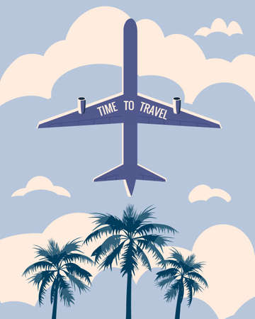 Time to Travel poster holiday summer vacation. Plane bottom view palms sky clouds vintage retro. Vector illustration isolated