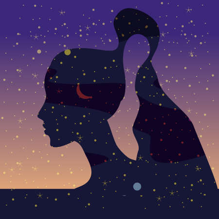 Portraite profile a girl with hair of stars inside night sky, mental health. Female portrait character of magic night fairy fantasy. Vector isolated illustration  イラスト・ベクター素材