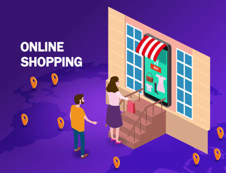 Online shopping young women and man character hand serves a package with purchase from smartphone internet shop.