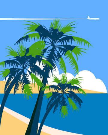 Travel poster holiday summer tropical beach vacation. Ocean seaside landscape palms plane. Vector illustration isolated  イラスト・ベクター素材