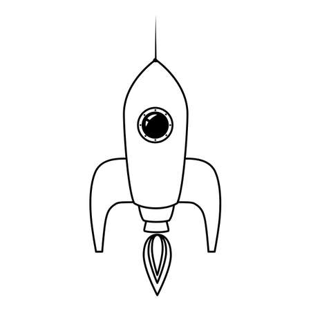 Rocket space ship retro icon line. Vector illustration isolated 向量圖像