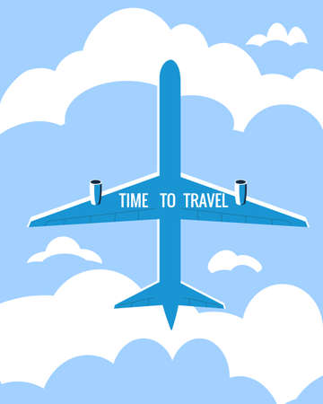 Time to Travel poster holiday summer vacation. Plane bottom view sky clouds vintage retro. Vector illustration isolated  イラスト・ベクター素材