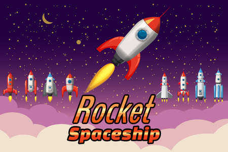 Set Rockets collection. Start up launch. Assets spacecraft for for mobile game design. Retro vector illustration isolated cartoon style