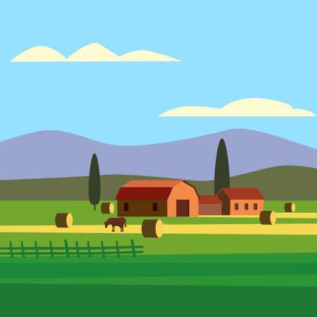 Rural farm landscape field country house, cows. Summer hills sunset farmland. Vector illustration vector