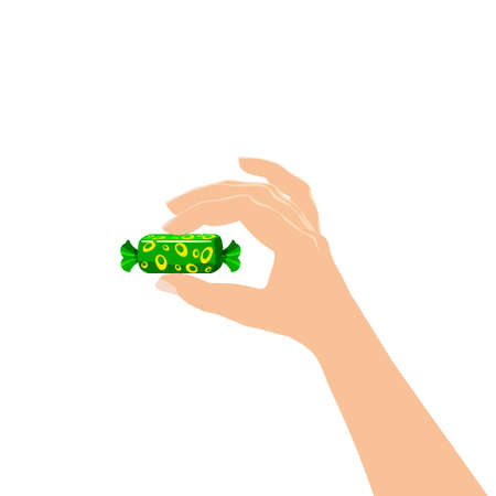Hand hold candy wrapper dessert sweetness. Vector illustration isolated cartoon style