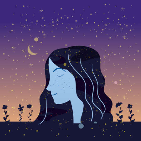 Portraite profile a girl with hair night sky stars. Female portrait character of magic night fairy fantasy. Vector isolated illustration 向量圖像