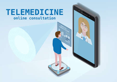 Telemedicine smartphone concept characters doctor and patient consultation diagnosis by internet. Online doctor service. Isometry icons, vector illustration isolated  イラスト・ベクター素材