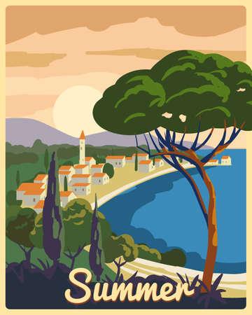 Travel poster retro old city Mediterranean sea vacation Europe. Holiday summer voyage seaside sunset. Vintage style vector illustration  イラスト・ベクター素材
