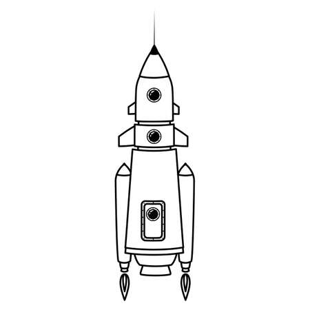 Rocket space ship retro icon line. Vector illustration isolated  イラスト・ベクター素材