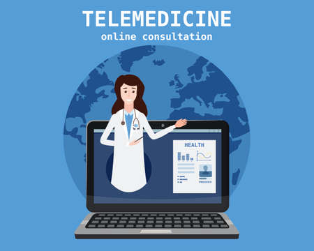 Telemedicine laptop concept characters doctor consultation diagnosis by internet. Online doctor service. Vector illustration isolated