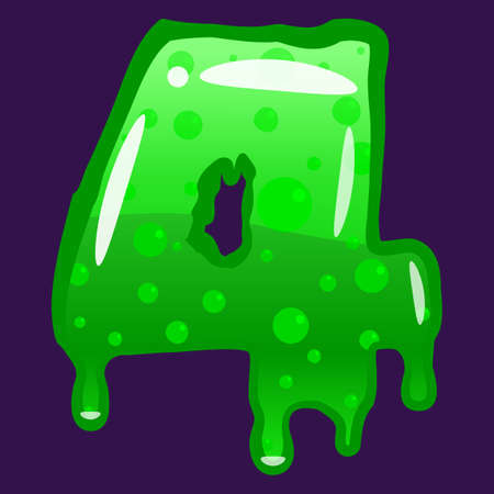 Slime font type number 4 latin alphabet. Green bubbling toxic mold. Vector cartoon style illustration
