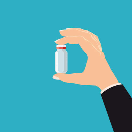 Hand hold pharmacy bottle glass medicine. Template banner vector illustration isolated cartoon flat style