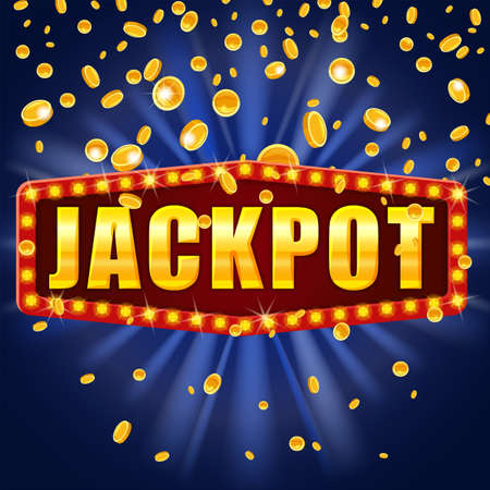 Jackpot Winner banner shining retro sign illuminated by spotlights falling coins. Lottery cazino vector illustration isolated 向量圖像