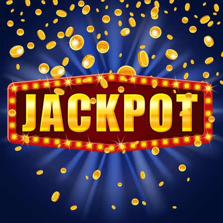 Jackpot Winner banner shining retro sign illuminated by spotlights falling coins. Lottery cazino vector illustration isolated Vectores
