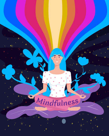 Mindfullness yoga meditation woman sit in the lotus position meditate. Mental calmness and self consciousness concept. Vector illustration isolated Vectores