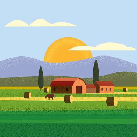 Rural farm landscape field country house, cows. Summer hills sunset farmland. Vector illustration trendy style noise shadow vector Foto de archivo