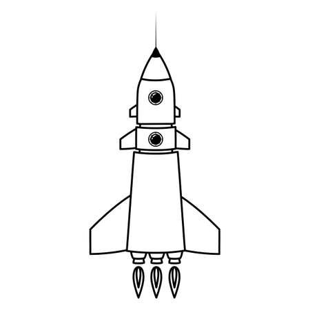 Rocket space ship retro icon line. Vector illustration isolated Vectores